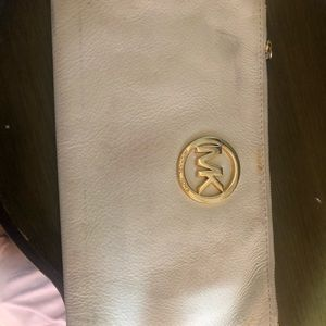 Michael Kors  leather cream large wristlet